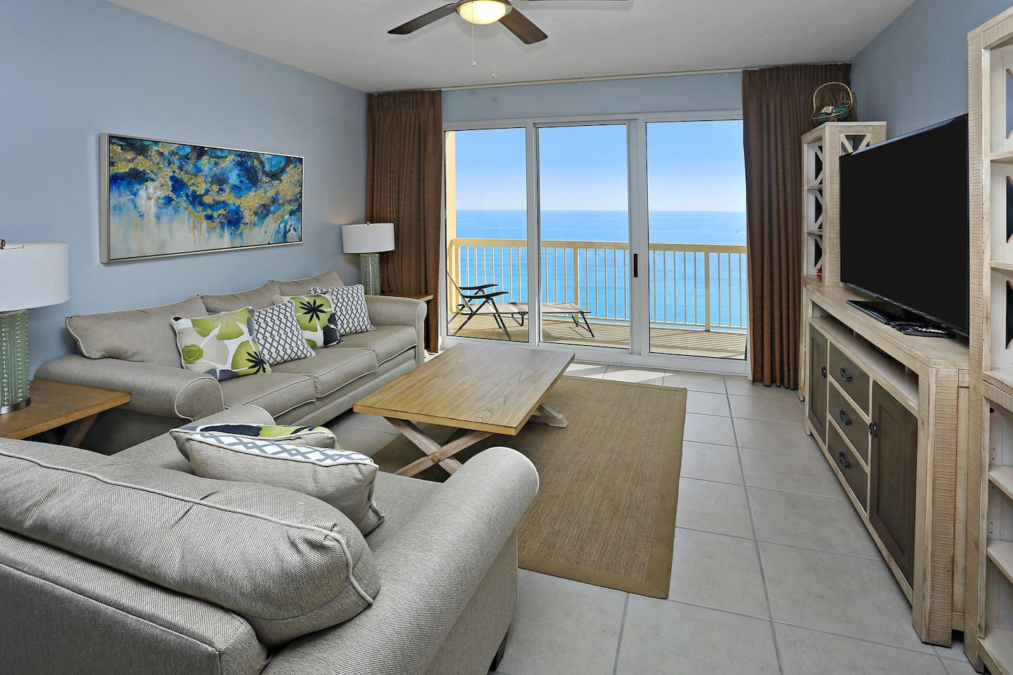 """Family Room with Gulf View and 60"""" Flat Panel LED TV, DVD Player"""