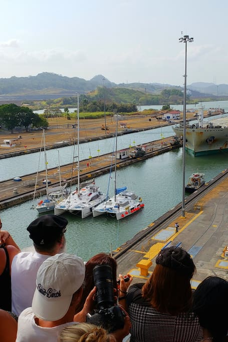 Ship Passing Through the Miraflores Lock