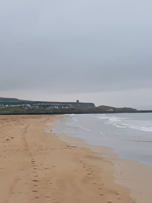 Portstewart strand with Mussenden Temple in the distance