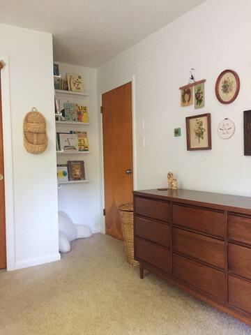 Kid room dresser and book shelves