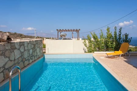 Family Villa with Private Pool, BBQ and Sea View! - Chania