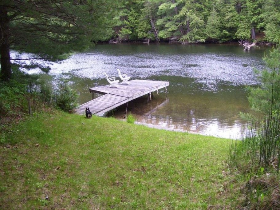 Private dock (recently renovated). Perfect for swimming, sun bathing, fishing, or taking our row boat out for a spin!