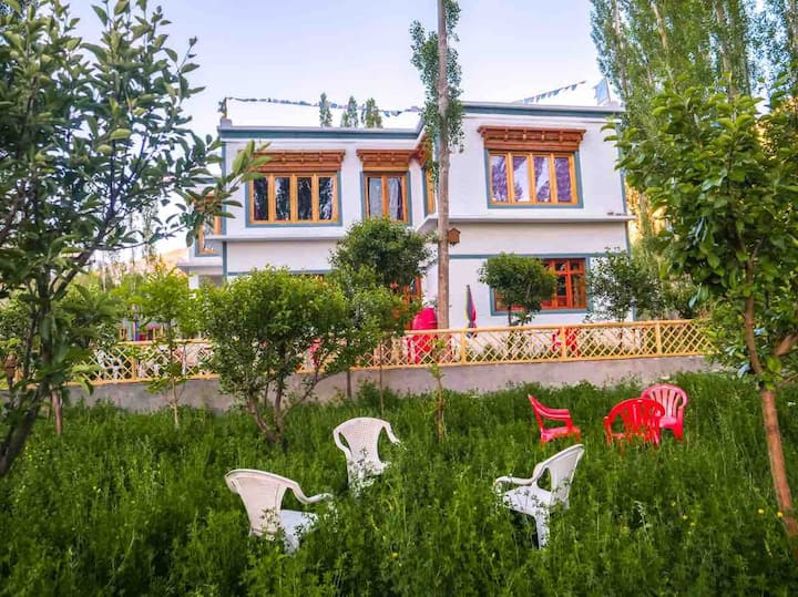 A traditional Ladakhi Guest house away from town.