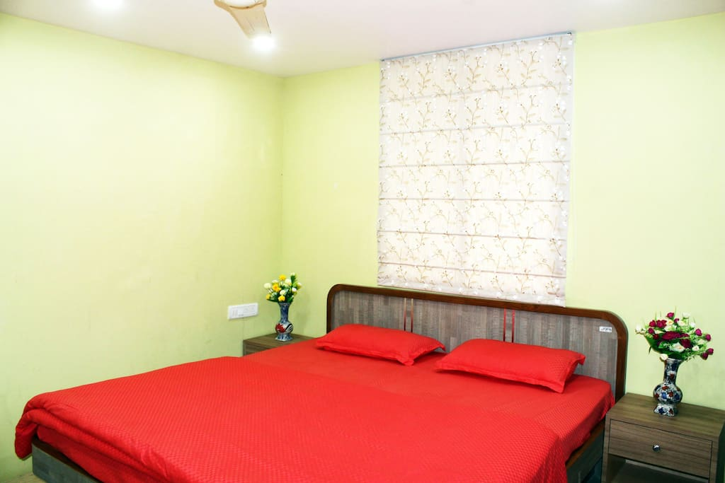 Room consists of  King size Bed, Comfortable Mattress, Quality Bedsheet, Pillows & Comforter along with Dressing cum Work Table, Chairs, Centre & Side Tables, Window Curtains and other amenities.
