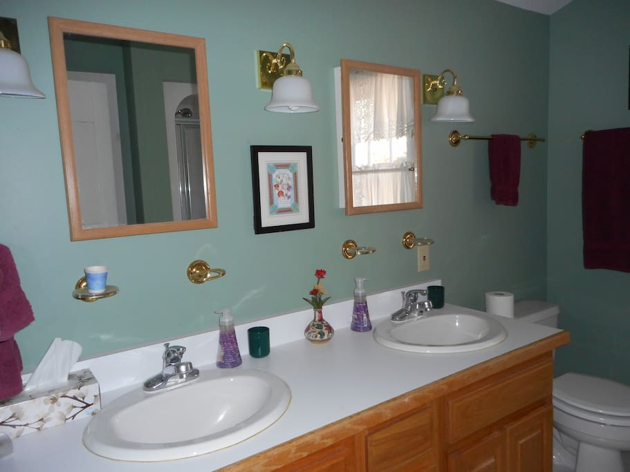 Shared Upstairs Bathroom with Two Basins