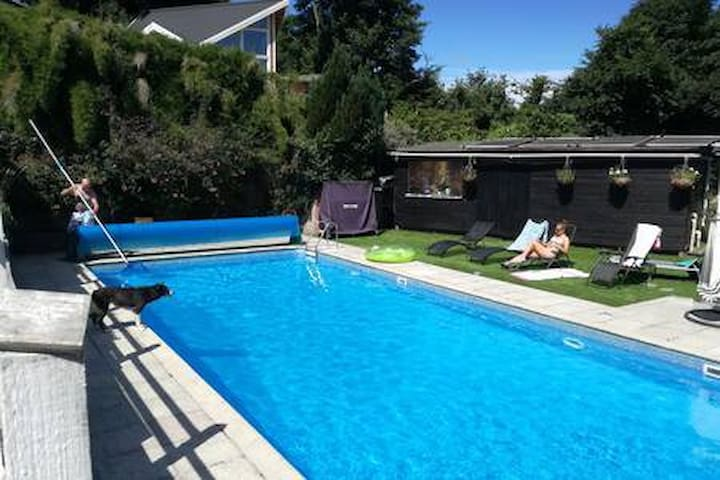 Relax by the pool 12m x 6m.  The temperature is usually between 20 and 25 degrees in the summer months.
