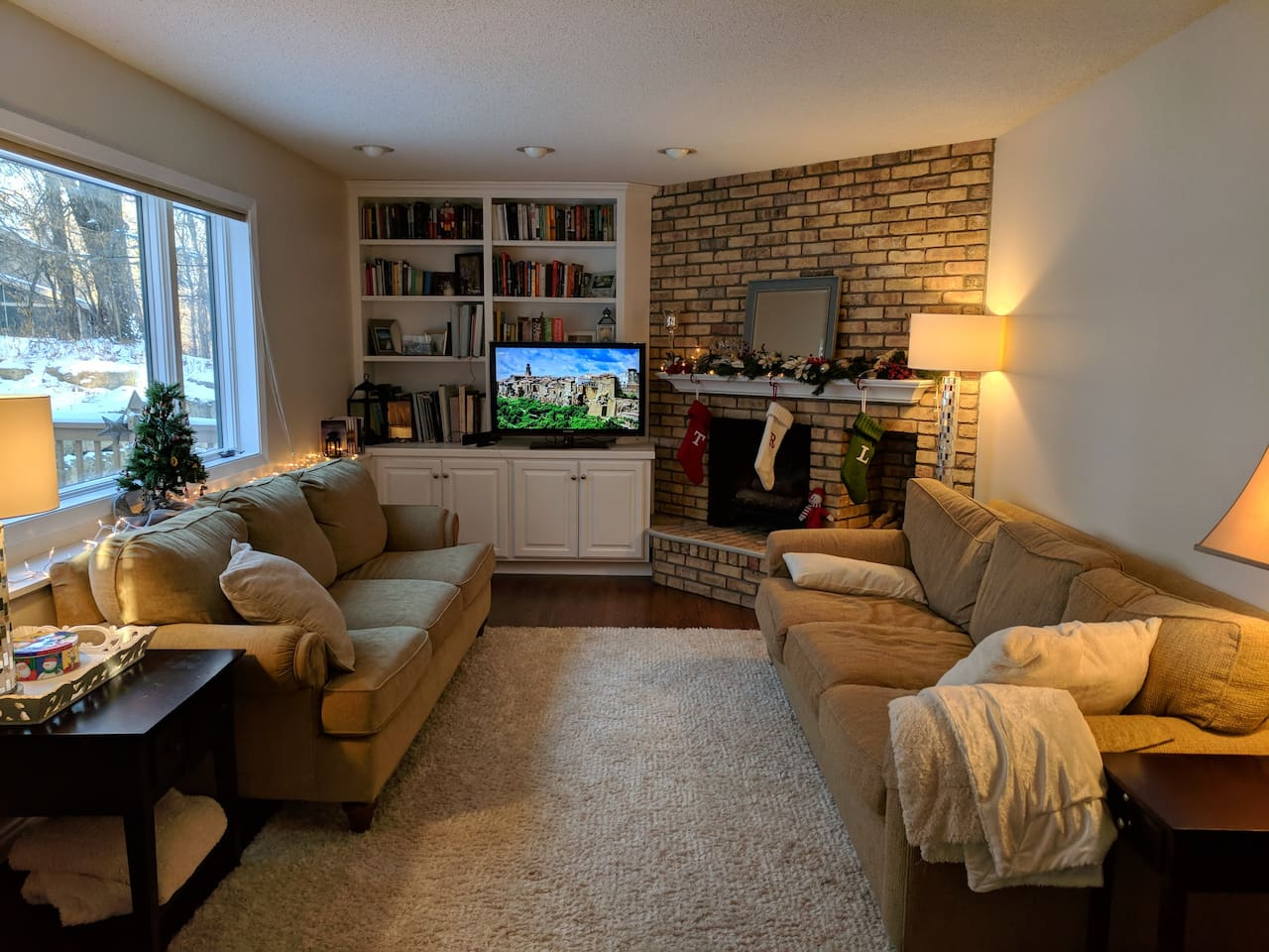 Snuggle up and watch the game in this cozy family room.  Games and DVDs available to add a little more fun!