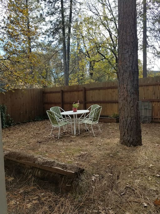 small fenced in yard with table