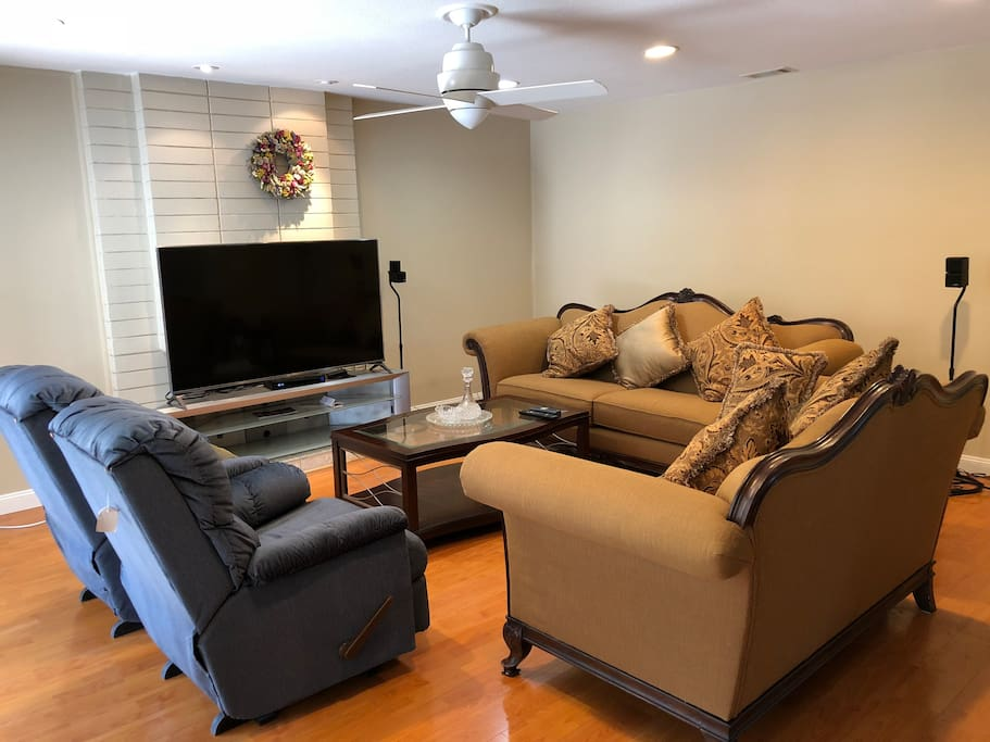Living room with 65 inch TV