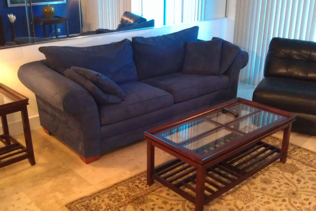 Living room has pull out queen sleeper sofa.