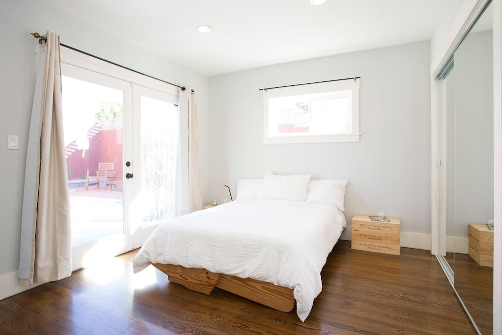 Master, with french doors to backyard and master bedroom