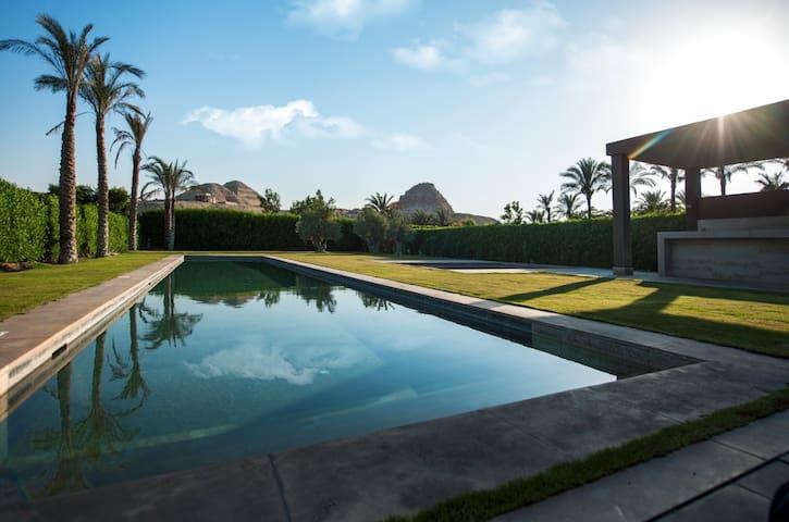 Modern villa infront of Abu Sir Pyramids