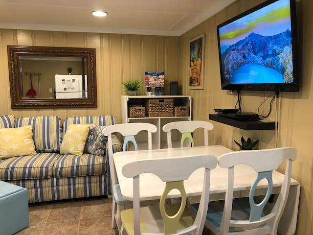 42 inch HDTV with flex box streaming device to watch lots of free shows and movies in addition to your Netflix and other subscriptions. Or switch to antenna to watch local channels. Upgraded WiFi too!