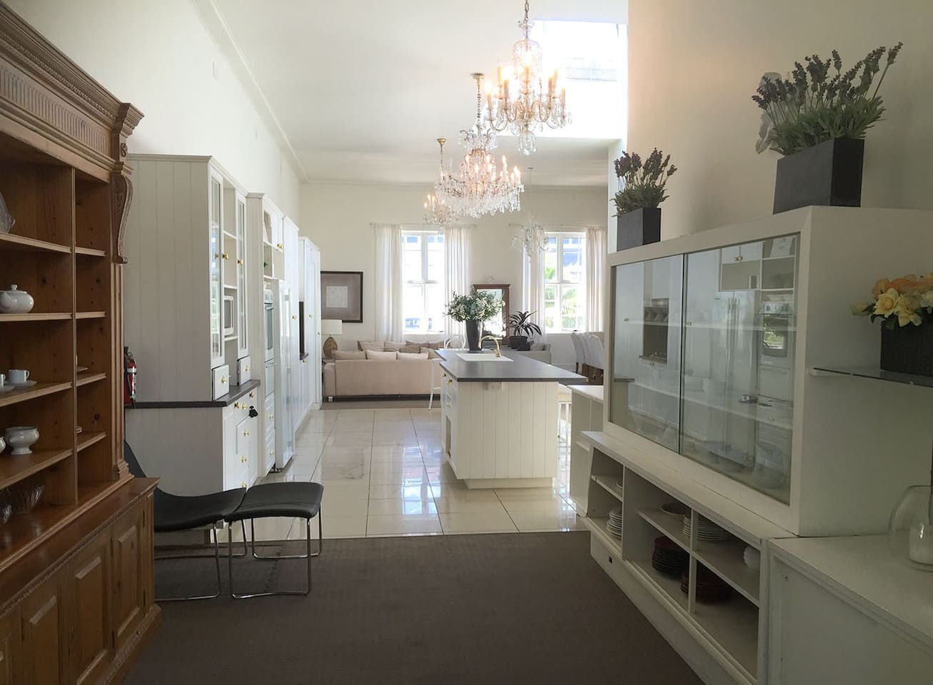 Open plan living with very high ceilings