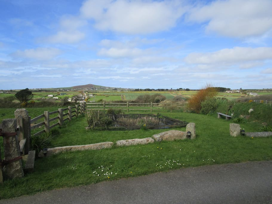 View over the pond and St Agnes Beacon
