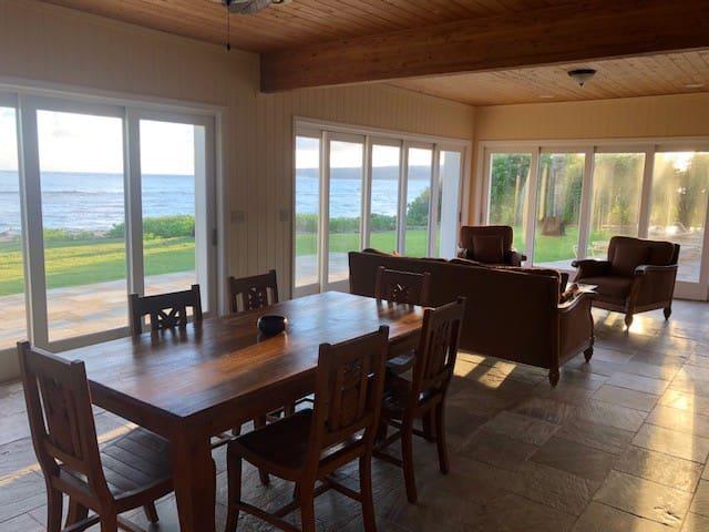 Ground Floor Dinning with Slide away glass walls for indoor outdoor living