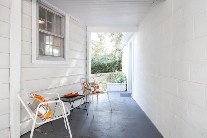 The breezeway, perfect for morning coffee, reading or an evening cocktail.