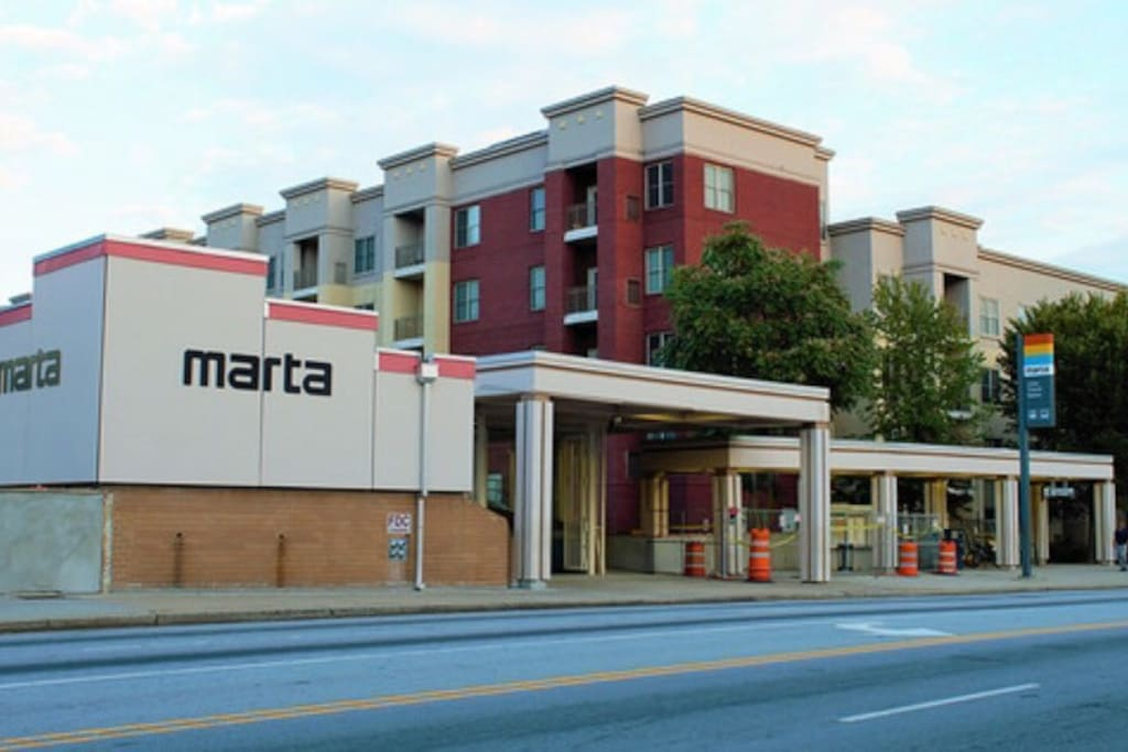 This is the Ashby Marta Station with bus and train service. Located directly behind the station is the condominium building where the Unit is located.