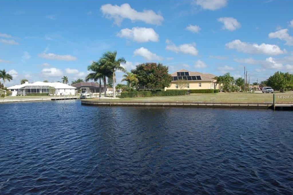 View from the dock. Beautiful location with intersecting canal views