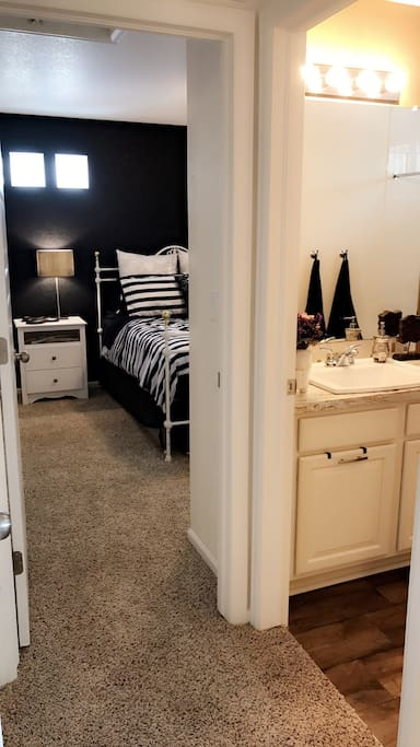 Guest quarters including full bathroom.