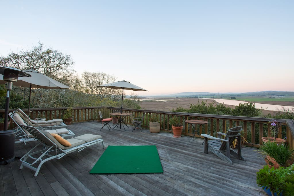 A large deck overlooking the Petaluma river and Sonoma
