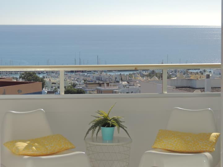 Large terrace, sea views, Marina, close to beach.