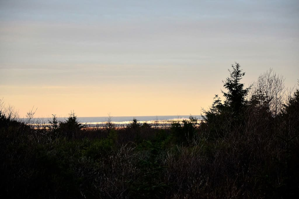 Morning view of the ocean and beach from the deck.
