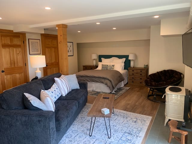 Walkout Basement Living Space with Queen Bed and Queen Pullout Sofa