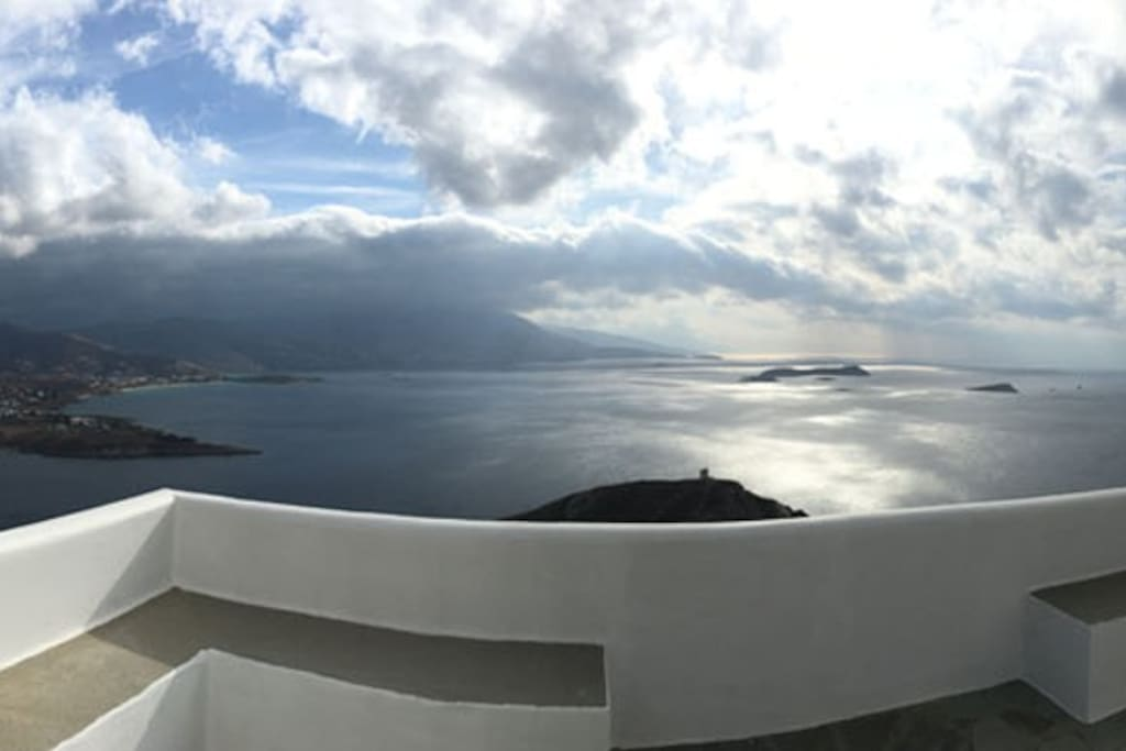 The panoramic view of the sea from another corner of the main veranda of the Villa.