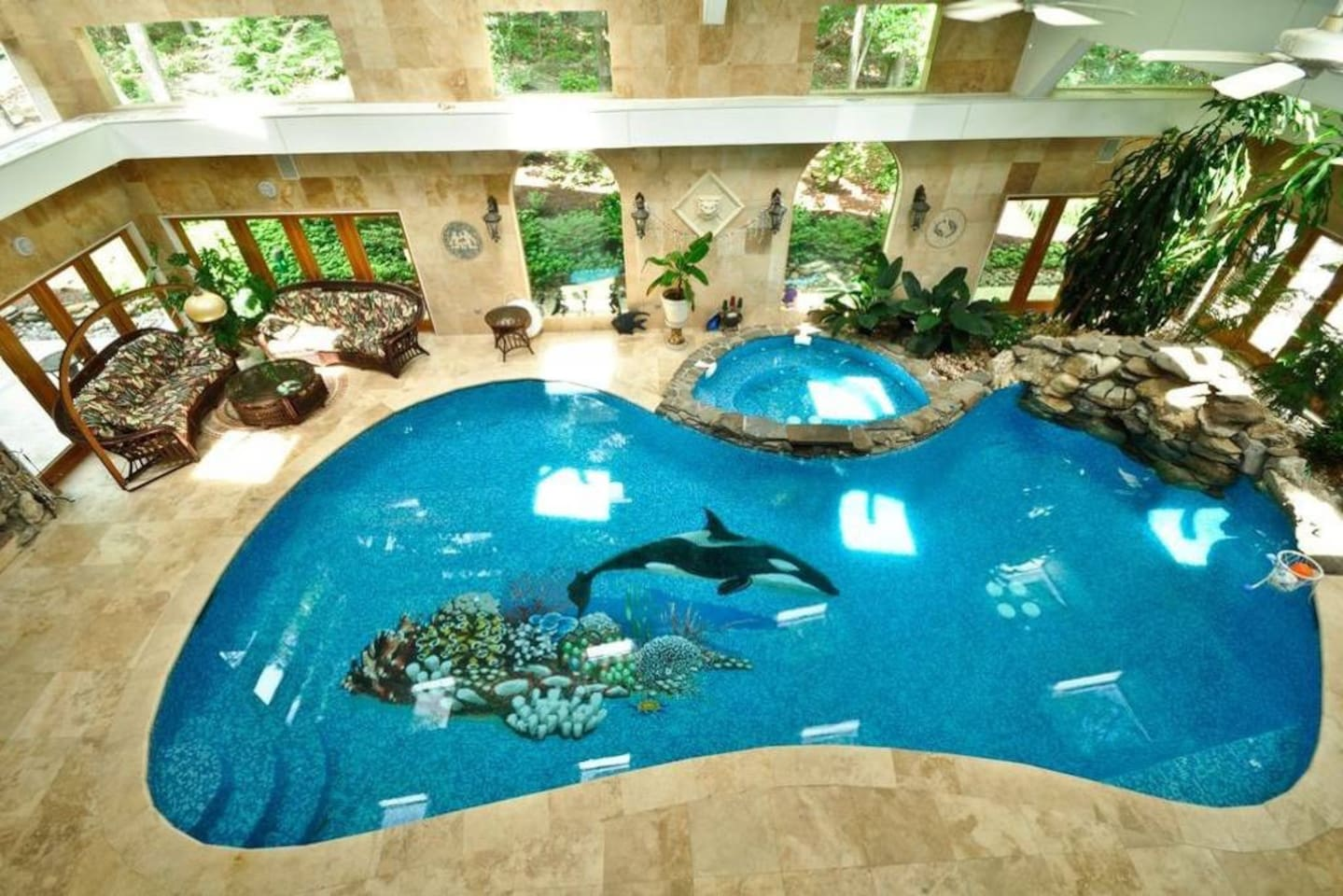 Spectacular view of saltwater pool from balcony