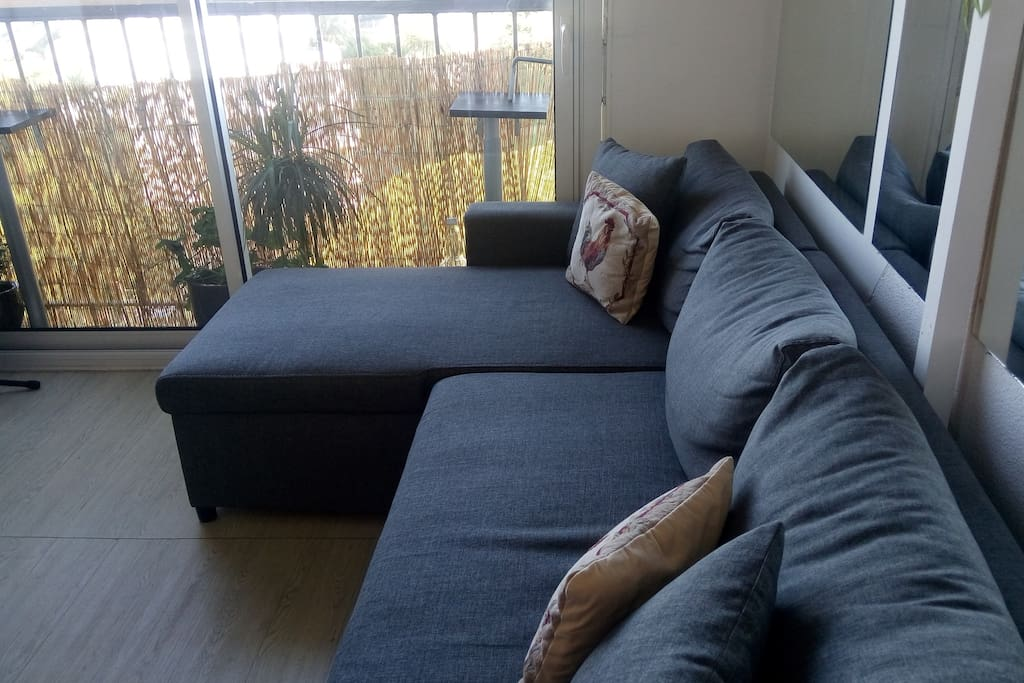 living room when sofa bed is closed