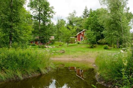 Johanshus mitten in der Natur mit Teich
