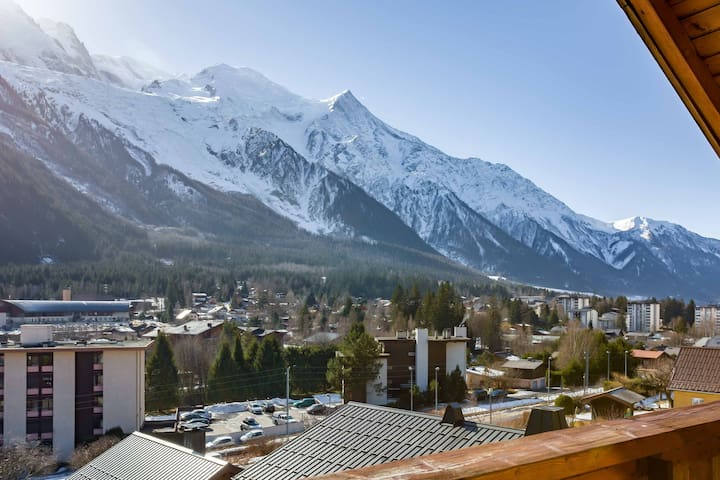 View of Mont Blanc from the apartment balcony
