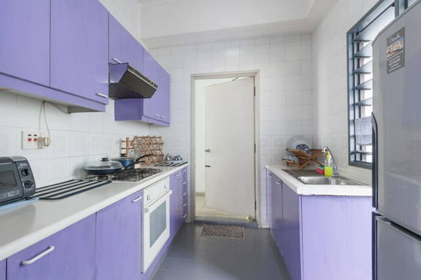 Your own private equipped kitchen with microwave oven, gas stove, cutleries, cooking utensils, fruits n vegetables cutter/juicer, coffee maker, 3 -door refrigerator, washing machine.