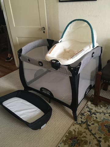 Porta-crib for infants or toddlers available, with changing table