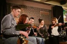 Trad session under the Weigh Bridge in The Markethouse Pub, the oldest building in town.