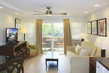 Living Room includes Air Conditioner, Ceiling Fan, Large Flat Screen TV, DVD player, sleeper couch, and dining area