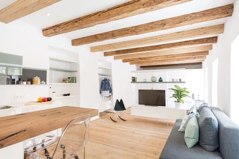 Stylish studio design apt in a historic farmhouse