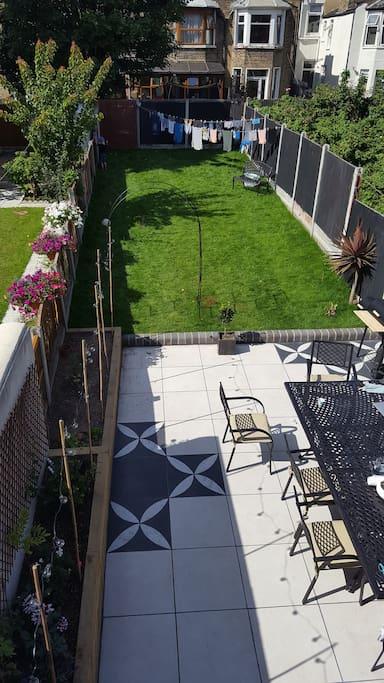View of garden from rear guest window.