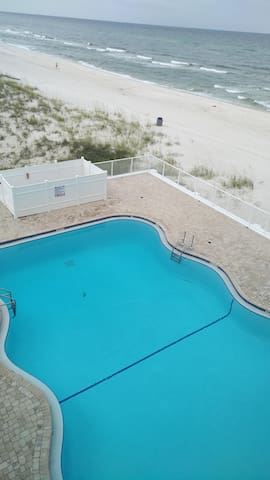 Remodeled pool area. Right on the beach.