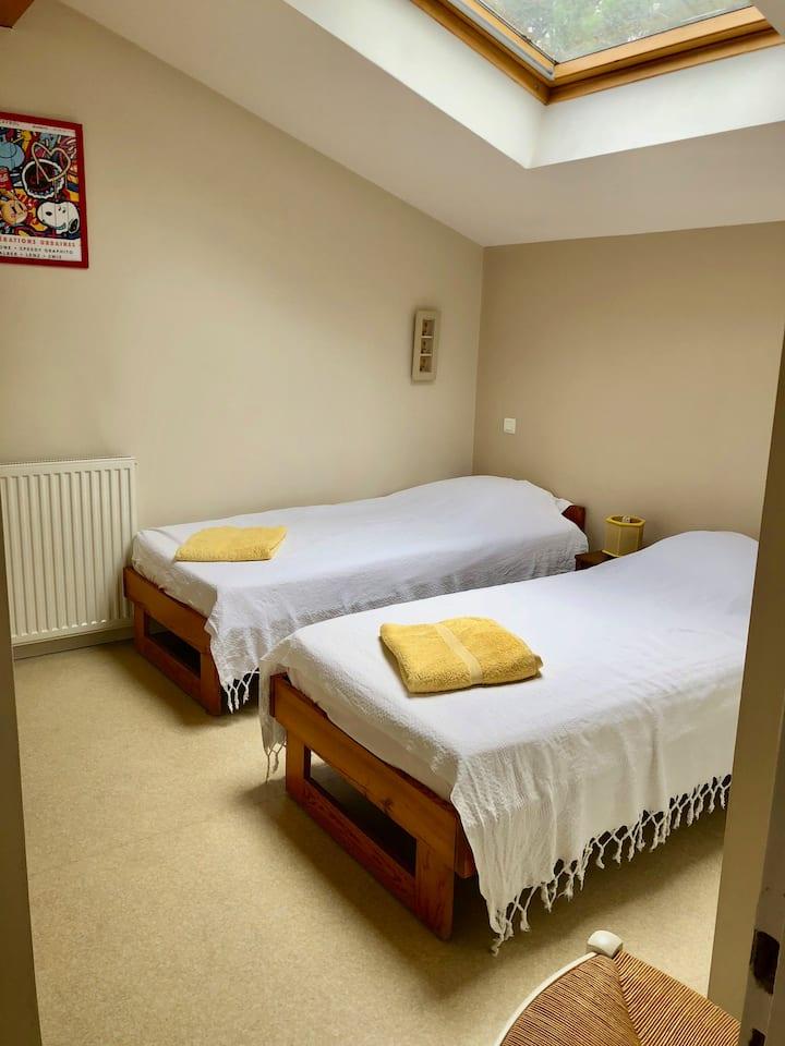 Chambre 2 lits - Villa 5min à pieds plage + centre