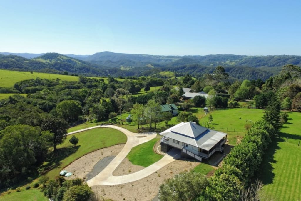 Birds eye view of Watson House showing its hilltop location and views