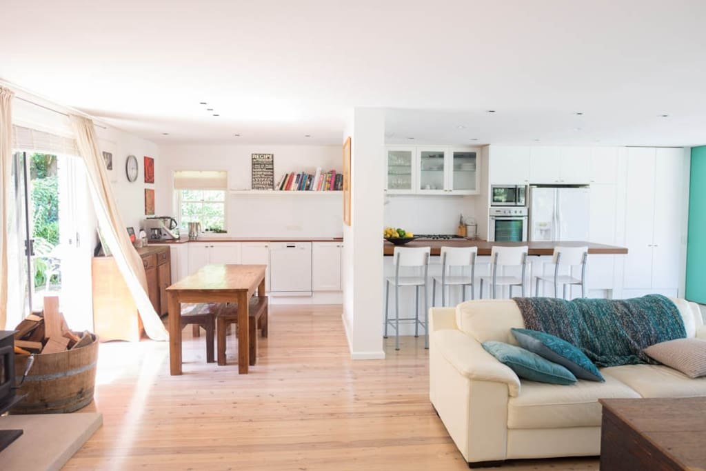 Bright, open plan kitchen and living area.