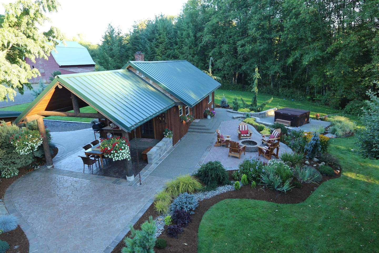 Overview of cabin and some landscaping