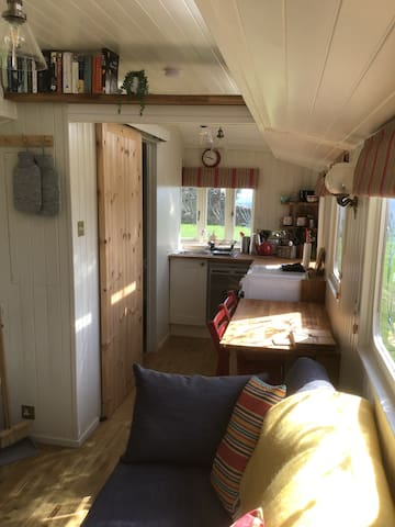This shows the living area and the kitchen. The wooden door is into the shower room.