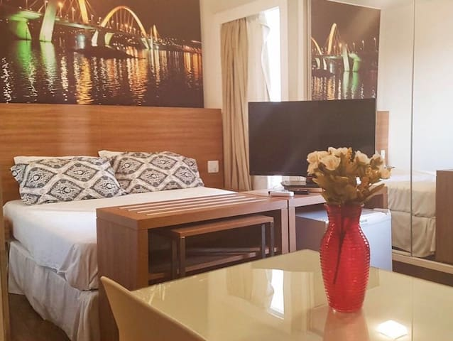 S4 Hotel:Flat lindo, aconchegante e bem localizado