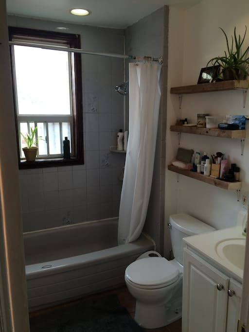 Clean bright bathroom, ugly but functional tub.