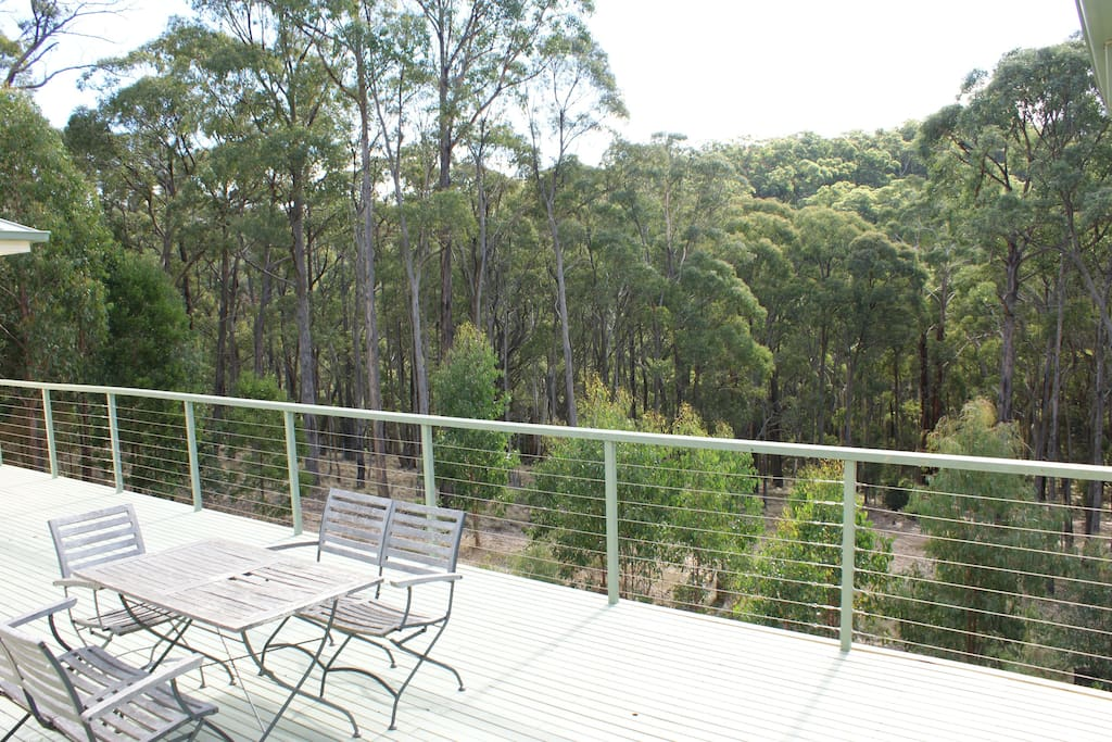 A huge deck overlooking bushland