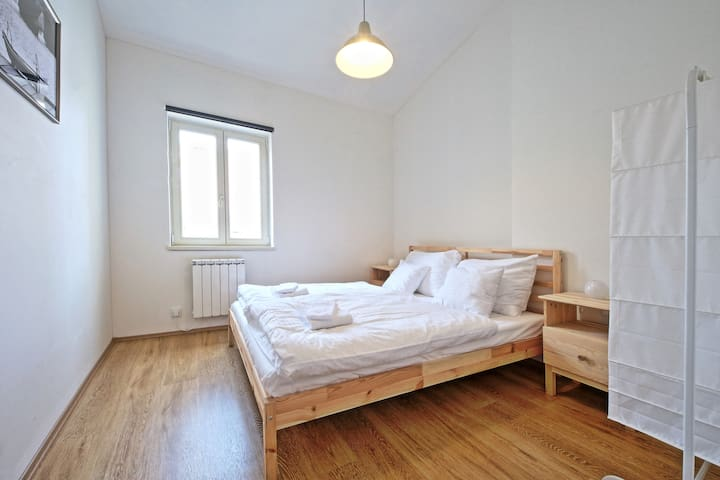 calm separated bedroom