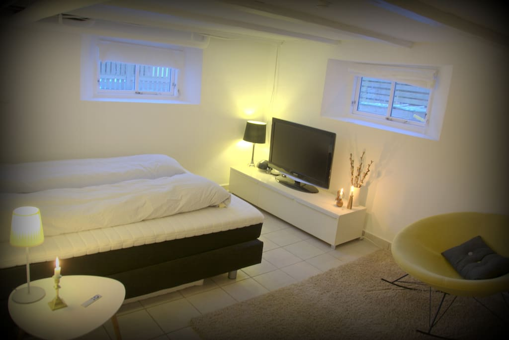 BEDROOM 2: located in high and bright basement + private entry & bathroom & kichenette + classical Danish design + premium quality bed + deluxe Danish duvets + big flatscreen tv (free Netflix/tv) + private, direct access to the garden